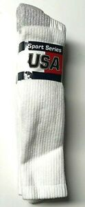3 Pair Men's Heavy Weight Work/ Sport Cushioned To Top White Boot Sock SZ 10-13.