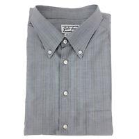 Giulio Ferrini Mens Shirt Cotton Grey Striped Long Sleeve Button Fly Size XL