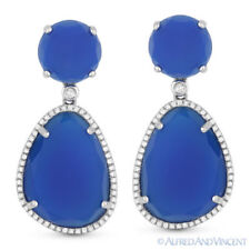 25.75 ct Blue Agate Round Cut Diamond Pave 14k White Gold Dangling Drop Earrings