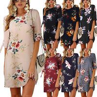 Plus Size Womens Floral Short Mini Dress Tunic Summer Beach Long Tops Blouse 5XL