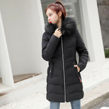 Womens Ladie Quilted Winter Coat Puffer Fur Collar Hooded Jacket Parka Size 6-16