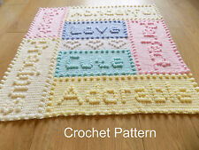 CROCHET PATTERN Baby Blanket Precious Motif Words by Peach.Unicorn