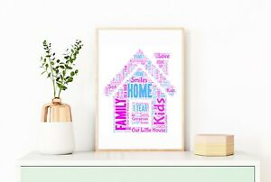 New Home Birthday Gift House Personalised A4 Word Art Home Print Decor 1st Home