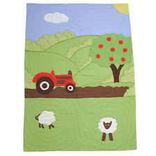 100% Cotton Hand Stitched Bed Quilt - Single(150x225cms) - Powell Craft-Farmyard