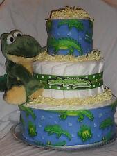 Blue and Yellow Alligator Theme Diapercake