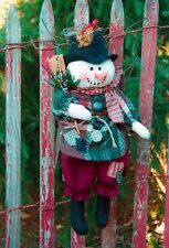 """18"""" Hanging Snowman pattern #175 by Bonnie B Buttons Doll pattern for winter"""