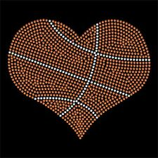 Basketball style Heart rhinestone transfer - Iron on - 2 color