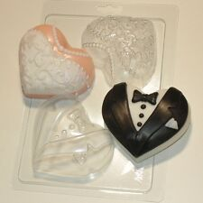 """Bride and groom - hearts"" plastic soap mold soap making mold mould"