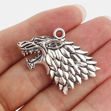 5 x  Game of Thrones Stark Dire Wolf  Pendants Tibetan Silver Findings 44*24mm