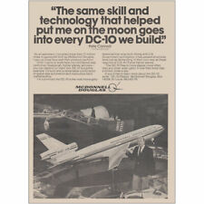 1980 McDonnell Douglas: Pete Conrad, DC10 Vintage Print Ad