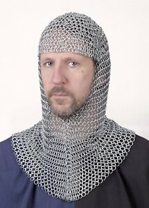 Chain Mail Hood coif, galvanised, V-neck - Reenactment - LARP - Role Play - chai