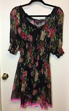 BETSEY JOHNSON FLIRTY SHEER FLORAL ROSE DRESS RARE W/LINER SMALL NWOT
