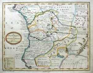 AFRICA  CONGO  NAMIBIA  GABON  ANGOLA  c1753   GENUINE ANTIQUE ENGRAVED MAP