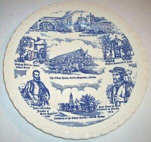 Vernon Kilns Souvenir Collector Plate: FLORIDA: ST. AUGUSTINE: Blue: EXC: NR
