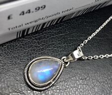 Moonstone 925 Sterling Silver Teardrop Gemstone Necklace Pendant Gift Boxed