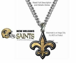 NEW ORLEANS SAINTS NECKLACE STAINLESS STEEL CHAIN - NFL FOOTBALL - FREE SHIP B'