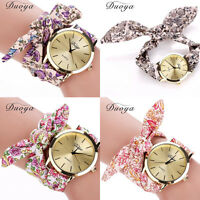 Women's Fashion Watch Bracelet Gold Dial Cloth Band Dress Analog Wrist Watches