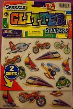 NEW 24 pc. TRANSPORTATION Plane Train Sailboat Bike Car JARU Glitter Stickers
