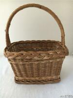 VINTAGE WOVEN RATTAN WICKER RECTANGLE BASKET W HANDLE FOOTED STURDY EASTER EUC!!