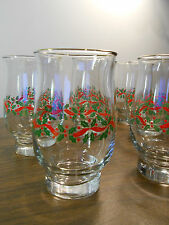 Lot of 10 Vintage Libbey Holiday Gold Rim Holly Berry Christmas Glasses/Tumblers