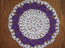 Tatted Doily - Tatting, Round Tatted Doily, White and Purple Centerpiece