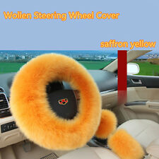 3Pcs Soft Long Wool Auto Car Plush Fuzzy Steering Wheel Cover Yellow Protector