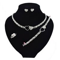"#11 HUGS & KISSES Necklace With Bracelet 18"" Xo Earrings, (Ring size 9) silver"