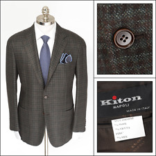 KITON Gray Brown Check Cashmere Vicuna Silk Rolling 3Btn Coat Jacket 52 42 R NWT