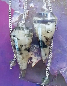 2 ORGONE DOWSING PENDULUMS, OBSIDIAN AND SELENITE CRYSTAL, WITH COPPER & POUCHES