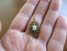 Vintage Opal Cabochon Filigree Pendant 14k Solid Yellow Gold by Pride