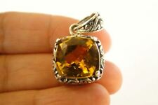 Golden Yellow Citrine Solitaire Ornate 925 Sterling Silver Pendant