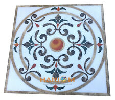 "32"" White Marble Coffee Table Top Marquetry Mosaic Outdoor Inlay Arts Decor W295"
