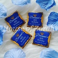 50 Personalised Luxury Blue Gold Prince Royal Crown Favour Chocolates