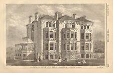 Elmdale House, Clifton Downs, Bristol, Vintage 1867 English Antique Art Print