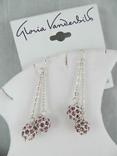NWT Gloria Vanderbilt SILVER & PURPLE ROUND BALL DANGLE EARRINGS, Rhinestones
