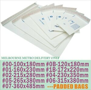 Bubble Padded White Mailer Envelope Bag 100x180 120x180 160x230 172x220 215x280