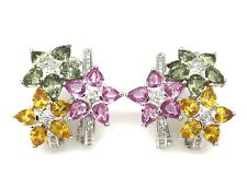 Pink Yellow Green Sapphire and Diamond Flower Earrings 14kYellow Gold- HM1964I