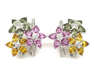 Pink Yellow Green Sapphire and Diamond Flower Earrings 14k White Gold - HM1964I