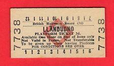 Edmondson Railway Ticket ~ BRB(M) Platform - Llandudno: 3d - Red Diamond: c.1980