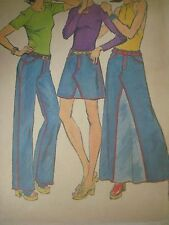 Vtg 70's Simplicity 6311 TOP-STITCHED JEANS SKIRT FLY FRONT Sewing Pattern Women