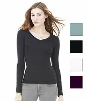 Bella Sheer Rib Long Sleeve V Neck Ladies T-Shirt Womens Fitted Plain Top New