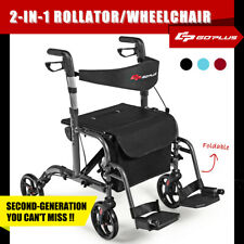4 Wheel Foldable Rollator Walking Frame Compact Mobility Walker Seniors AIDS