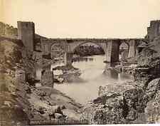 Espagne, Toledo, puente de San Martin  Vintage albumen print Tirage albuminé