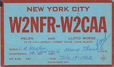New York City New York radio card W2NFR-W2CAA antique pc Z15870
