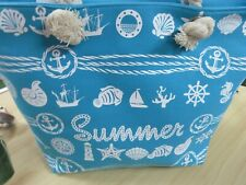 Summer Beach Large Tote Light Blue Bag With White Nautical Imprint  NWT