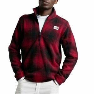 The North Face Mens Gordon Lyons Novelty 1/4 Zip Pullover Cardinal Red Ombre L