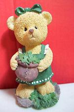 "Resin Girl Bear With Bucket Pot Figurine 6"" Tall Good Condition"