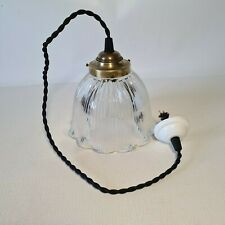 💡 ancienne lampe suspension en verre Holophane