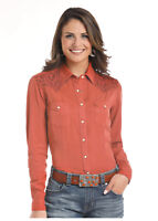 Panhandle Slim Women's Burnt Orange Embroidered Snap Up Western Shirt R4F7621