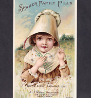 "Shaker Family Pills Cure Sick Headache ""For Delicate Women"" Victorian Trade Card"